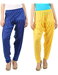 VP Texx Women's Cotton And Viscose Patiala Bottom Salwar Combo Pack Of 2 (Royal Blue And Yellow)