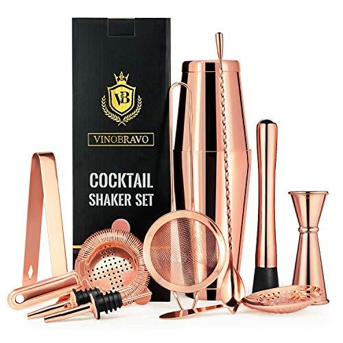 11-Teiliges Boston Cocktailshaker Bar Set von VinoBravo: 2 gewichtete Cocktail Shaker, Barsieb-Set, Doppeljigger, Barlöffel, Barstößel & Tong, 2 Spirituosenausgießer & Cocktailrezeptbuch (Home-bar Cocktail-set)