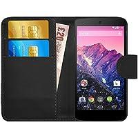 Funda Nexus 5, G-Shield Carcasa Libro de Cuero Con Tapa y Cartera [Ranuras para Tarjetas] [Cierre Magnético] Funda Billetera Case Cover Para LG Google Nexus 5 - Negro