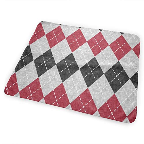 Argyle Red, Black, Grey Bed Pad Washable Waterproof Urine Pads for Baby Toddler Children and Adults 31.5 X 25.5 inch Argyle-shield