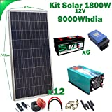 Kit Solar 12v 1800w/9000w día Regulador de carga MPPT 60A Inversor 5000w onda pura con cargador 80A Batería Monoblock TAB 245Ah