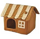 nanook Hunde-Höhle Katzen-Höhle CARAMEL, für kleine Hunde, Katzen und Kleintiere, Größe S (56 x 49 cm), hellbraun gestreift