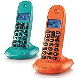 Motorola MOT31C1002NAAZ - Teléfono inalámbrico,, color naranja y azul
