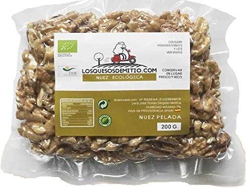 Nueces ecológicas peladas, deliciosas y saludables de Losquesosdemitio, crudas, sin sal añadida, cultivadas en España (dos bolsas, 400g)