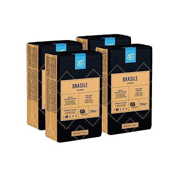 """Marchio Amazon - Happy Belly Caffè tostato macinato """"BRASILE"""" (4 x 250g) 2 spesavip"""