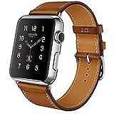 Armband für Apple Watch Series 3 Series 2 Series 1, MroTech iWatch Apple Watch Armband Edelstahl Leder Ersatzarmband Uhrenarmband für Apple Watch Sport Edition Nike+ alle Versionen (Single Loop-Braun, 38mm)