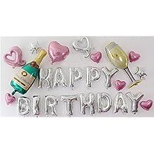 PuTwo globos de aluminio Happy Birthday decoración de fiestas cumpleaños 16pulgadas 22piezas/set