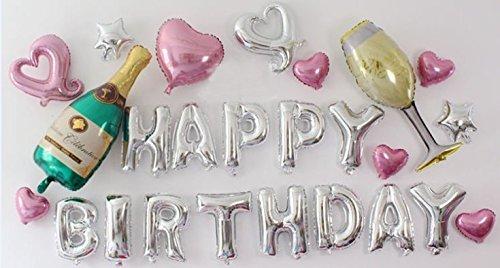 PuTwo-Palloncini-Party-25-pz-Colore-Adorabile-Bambini-Compleano-Happy-Birthday-Includendo-Lettere-Cuori-e-Champagne-Foil-Balloon-Elicottero-Palloncino