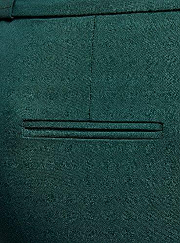 oodji Collection Donna Pantaloni Aderenti con Piega Verde (6E00N)