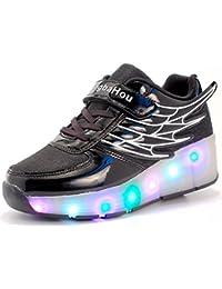 Mr.Ang SkateSchuhe mit LED 7 Farbe Farbwechsel Lichter blinken Räder SchuheTurnschuhe Jungen und Mädchen Flügel-Art Rollen Verstellbare neutral Kuli Rollschuh Schuhe