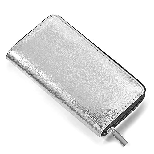 Damen Geldbörse weich im Metallic-Look mit Reißverschluss Portemonnaie in Silber 20 x 10 x 2,5 cm