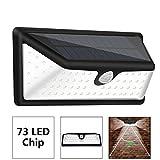 73 LED Solarleuchten Außen Wandleuchte IP65 Wasserdichte Solar Betriebene Lampe mit 120°Weitwinkel Bewegungs Sensor Solar Licht,3 Intelligenten Modi für Garten, Patio, Deck,Garage,Terrasse