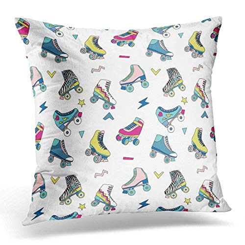 Yuerb kissenbezüge Colorful Rollerskate with Cute Retro Roller Skates Derby Vintage Decorative Pillow Case Home Decor Square 18x18 Inches Pillowcase (Vintage Roller Derby Skates)
