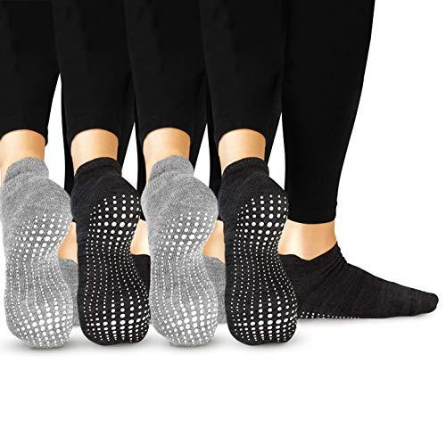 LA Active Grip Socken - 4 Paar - Yoga Pilates Barre Ballet Abs Noppen Rutschfeste (Grau x 2 und Schwarz x 2, 37-40 EU)