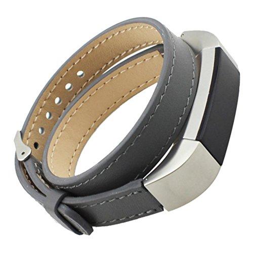 Ihee Fashion double Tour vera pelle Watch Band acciaio inossidabile classico fibbia cinturino da polso bracciale per Fitbit alta, donna Uomo, Y609, Grey, M
