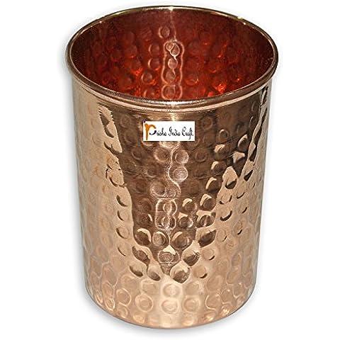 Prisha India Craft ® in puro rame Acqua Bicchiere Tumbler - fatti a mano bicchieri di acqua - per il viaggiatore tazza di rame per l'Ayurveda benefici - Natale articolo regalo - Bicchiere Viaggiatore