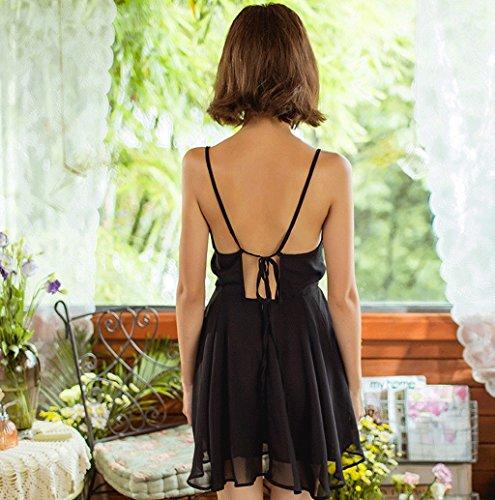 Summer sexy deep V sling sleep skirt ( Couleur : Noir , taille : Xl ) Noir