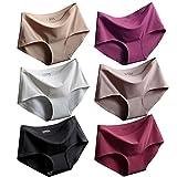 Srizgo Panty Damen 6er Pack Soft angenehm nahlos Seamless bequem mit Doppelkante Unterhose Silps Damen, Schwarz+weiß+haut+hellbraun+rose Rot+erdbeere Rot, Tag XL=EU L