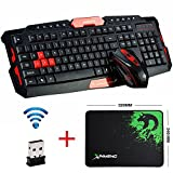 UrChoiceLtd® Wireless Tastatur und Maus Sets HK8100 USB Ergonomische Multimedia Gamer Gaming Tastatur Maus Combo Optical 1600DPI 4 Tasten + Mauspad