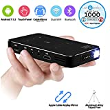 Mini Projecteur, AODIN M8T Touch Panel Mini Android Smart Projector Slim Wireless with Batteries and LiveTV (32GB/HDMI-IN)
