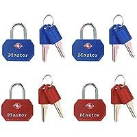 Master Lock 4681EURTBLR Set Lucchetti TSA a Chiave, Rosso/Blu, 30 mm, 2 Pezzi