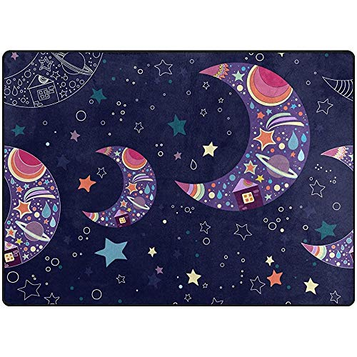 Saudade House Area Rugs Alfombras De Área Patrón De Estrella De Luna Alfombra De Noche Azul Marino...