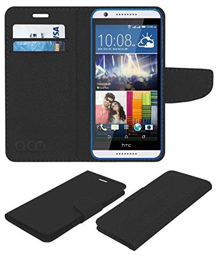 ACM Mobile Leather Flip Flap Wallet Case for HTC Desire 820g Plus Mobile Cover Black