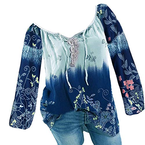 TianWlio Langarm Bluse Damen V-Ausschnitt Spitze Printed Bandage Long Sleeves Plus Size Tops lose Bluse