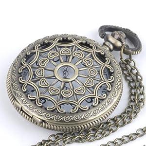 Collana vintage in ottone, orologio da tasca, catena lunga by 81stgeneration