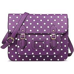 Bags & Purses Diseñador vintage Lunares cuero de imitación Maletín de trabajo Bolso satchel Bolsa para la escuela