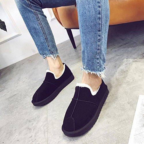 Women Snow Boots Shoes, SOMESUN Signore delle donne di inverno del caricamento del sistema scarpe calde Inoltre foderato piatto Neve Breve Shoes caviglia Black