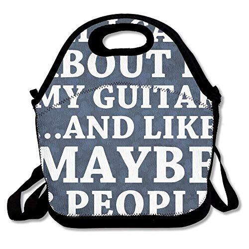 Dozili All I Care About is Playing Guitar Large & Thick Neopren Lunch-Taschen Isolierte Lunch-Taschen Kühltasche Warm Tasche mit Schultergurt für Frauen Teenager Mädchen Kinder Erwachsene - Tools Kitchen Guitar