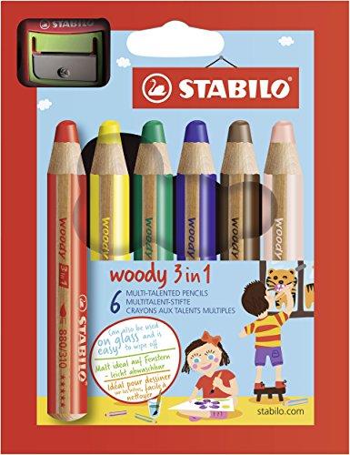 Buntstift, Wasserfarbe & Wachsmalkreide - STABILO woody 3 in 1 - 6er Pack mit Spitzer - mit 6 verschiedenen Farben - Finger, Pinsel