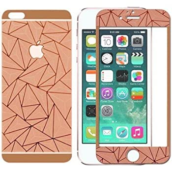 Online Street 3D Diamond Mirror Front + Back Tempered Glass Screen Protector For Iphone 4 /4S - ROSE GOLD