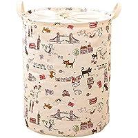 hangnuo pieghevole cotone e lino cesto biancheria cesto giocattoli pop-up Organizer Bins Cartoon Cats