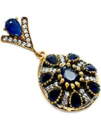 Silvestoo India Sapphire & Topaz (Lab) 925 Sterling Silver With Bronze Pendant PG-104564