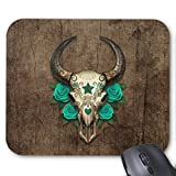 Bull Sugar Skull with Teal Roses on Wood Graphic Mouse Pad Rectangle Non-Slip Rubber Personalized Mousepad Gaming Mouse Pads