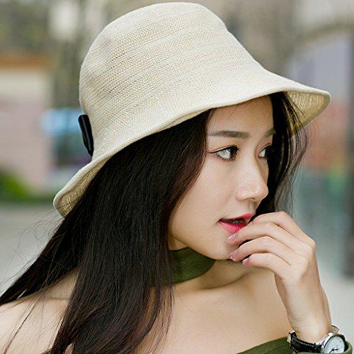 chapeau Fisherman été loisirs femme pliable bol Voyage sauvage automne marée coréenne chapeau automne chapeau noir ( couleur : Rose ) Beige