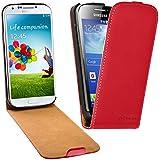 TMTmove Samsung Galaxy S4 mini Handy-Tasche Leder-Hülle Cover Case Down-Flip ( Rot )