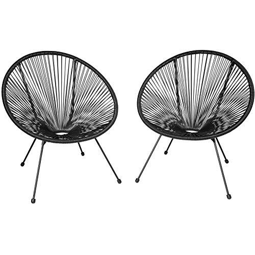 TecTake 800729 2er Set Acapulco Garten Stuhl, Lounge Sessel im Retro Design, Indoor und Outdoor, pflegeleicht, Relaxsessel zum gemütlichen Sitzen - Diverse Farben - (Schwarz   Nr. 403302)