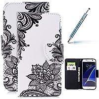 Robinsoni Samsung Galaxy S7 Hülle,Galaxy S7 Leder Hülle Brieftasche Flip Wallet Case Cover Bookstyle Schutzhülle mit 3D Bunt Vintage Painted Muster PU Premium Hülle Tasche Standfunktion
