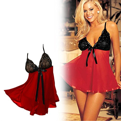 Quality Red & Black Colour Women Sexy Jewelled Lace Lingerie Nightwear Sleepwear Dress With G-String Extra Large (XL Size)