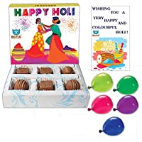 BOGATCHI Happy Holi Chocolate Gift Box for Friends and Family, 6 pcs + Free Greeting Card + Holi Balloons