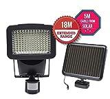 Bu-Ko Lampe de sécurité solaire avec détecteur de mouvement pour jardin, patio, porte de garage Économe en énergie, facile à installer et étanche, 120w, E10 120.00W