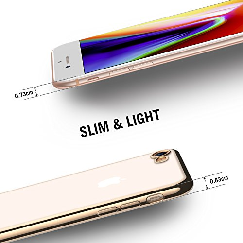Coque iPhone 7, RANVOO ultra mince protection Etui clair pour Apple iPhone 7 4.7 inch, Premium Soft TPU Bumper case [Slim coussin], Argent Or