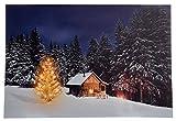 Großes Weihnachtsbild mit Beleuchtung / LED Leinwandbild - 40cmx60cm - Batteriebetrieben - Hütte im Schnee / Schnee Landschaft - Dekoration für Weihnachten