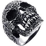 Konov Jewellery Men's Gothic Vintage Stainless Steel Skull Ring, Colour Black Silver (with Gift Bag)