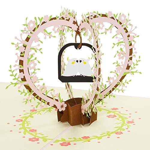 3D-Karte Lovebirds, süße Pop-Up-Karte, eignet sich zur Hochzeit, Hochzeitstag, Muttertag, Valentinstag als Hochzeits-Karte und Geburtstags-Karte