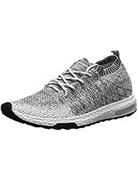 Kinlene Zapatos Deportivos de Malla Tejida Zapatos de Hombre Transpirables Zapatos Casuales con Cordones