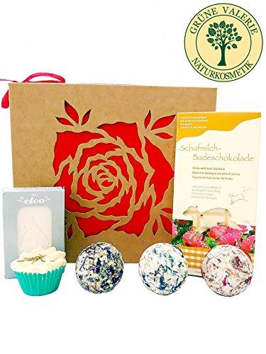 Badebomben aus Schafmilch, Schafmilchseife, Zirbe, Badeschokolade (Rose) Deluxe Geschenkset in hochwertiger Geschenkbox / Geschenk-idee für die Frau / von Grüne Valerie ® Premium Manufaktur (Bio-spa-geschenk)